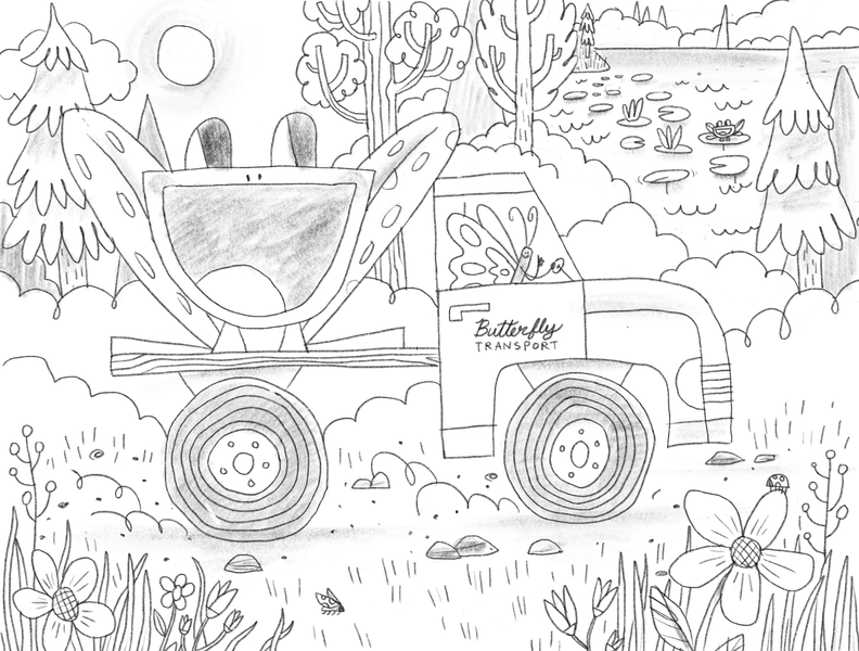 Butterfly Driving A Truck homeschool ladybug pond frogs butterfly coloringbook coloring pencil illustration ipad