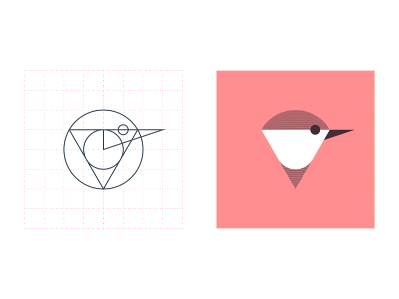 Chickadee-Dee-Dee bird icon geometric grid circle triangle bird shapes geometry chickadee