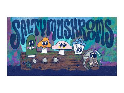Salty Mushrooms procreate team title dungeons and dragons boat log illustration gille mushrooms