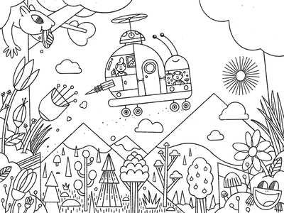 Coloring Page flowers squirrel adventure character frog snail brush procreate gille