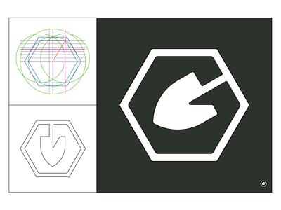 Shovel G supply tool nut garden logomark logo brandidentity brand id design shovel geometry