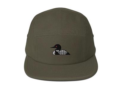 Loon grid stitch cap embroidery design hat bird geometric loon