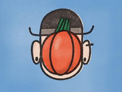 Son of Squash october halloween hat illustration vintage stamp procreate pumpkin face gille avatar