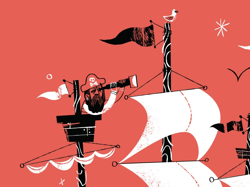Pirate Ship Final–ish. View attachment. pirate cannon skull crossbones seagull vector vector brushes texture