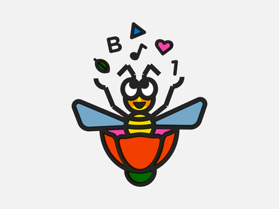 Busy Bees shapes love nature music math playful geometric mascot education learning flower kindergarten busy bee monoline