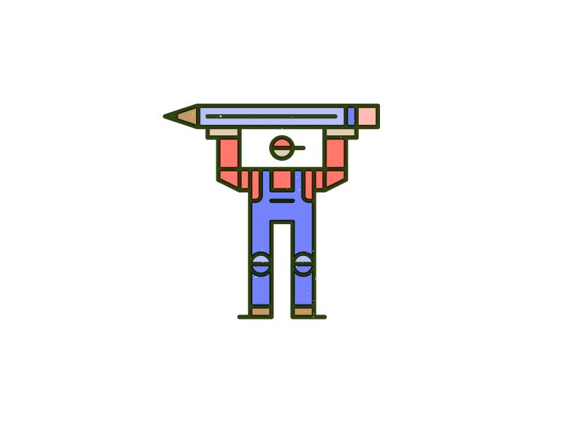 Heavy Lifting monoline vector pencil man overprint