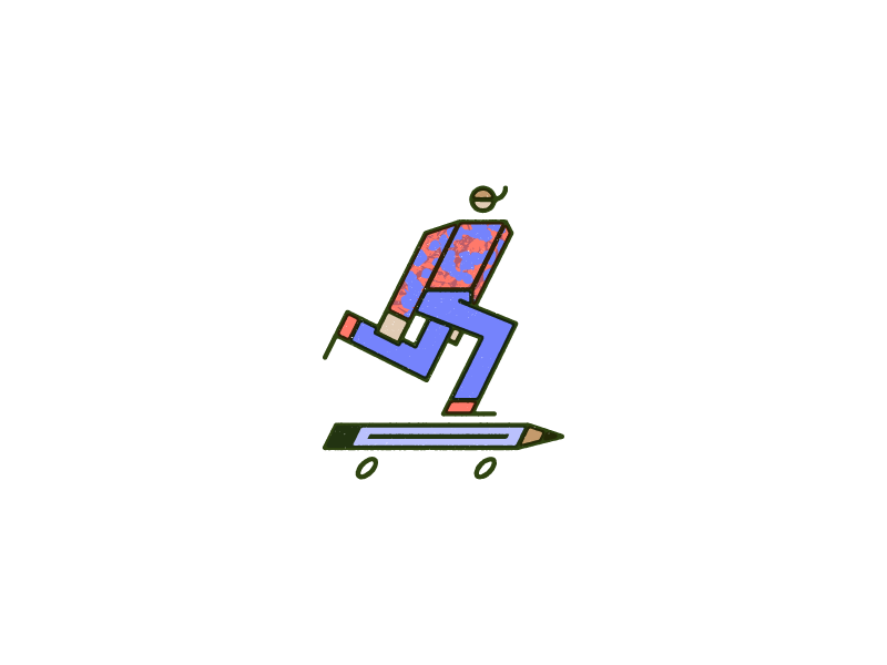 Kick Push monoline vector pencil man overprint skateboard
