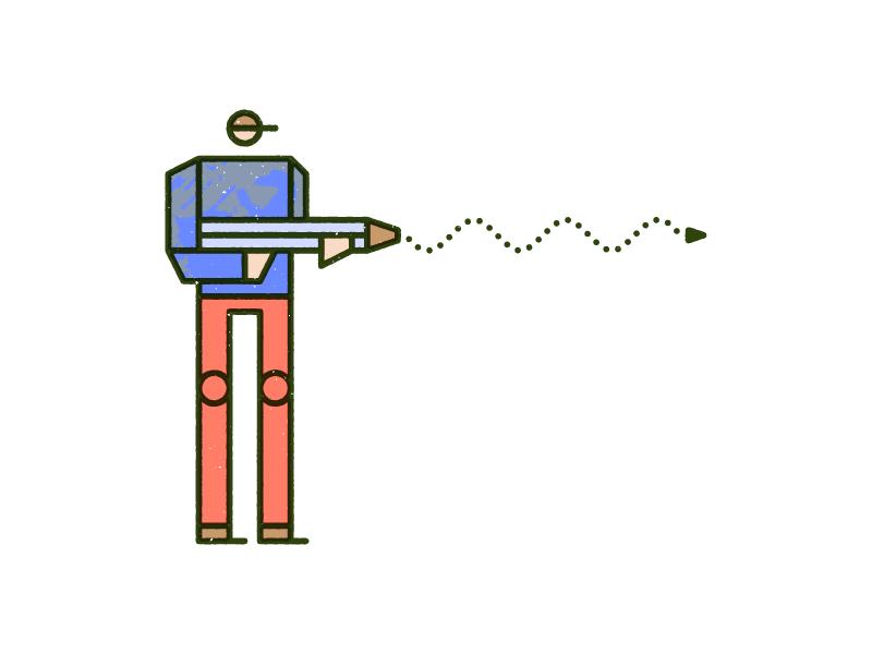 The Hunt monoline vector pencil man overprint hunt