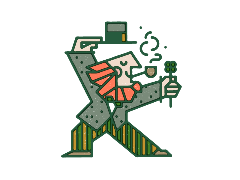 Leprachaun  pipe monoline overprint vector texture clover hat bowtie beard doodle leprachaun