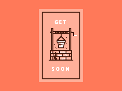 Get Well Soon monoline well soup conceptual fun card