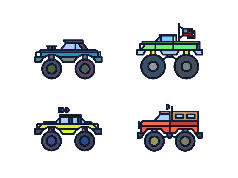 Monster Trucks flag vehicle wheels truck monster vector monoline