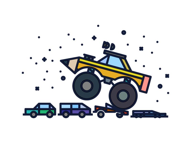Crush It!  crush van cars pencil vehicle wheels truck monster vector monoline