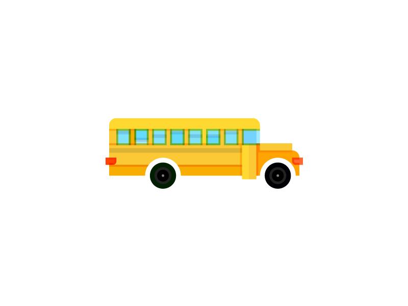 Back to School school yellow overprint icon bus