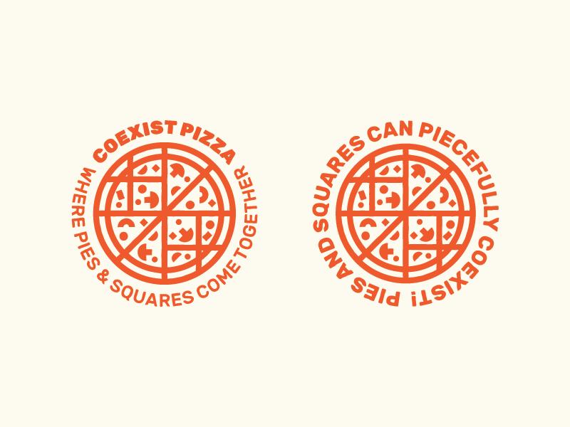 Coexist Pizza mushroom squares pies coexist logo identity pizza