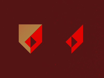 Redbird rhombus square modern shield geometric redbirds cardinal