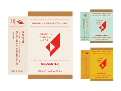 Redbird Handmade packaging product label mock-up soap cardinal handmade redbird