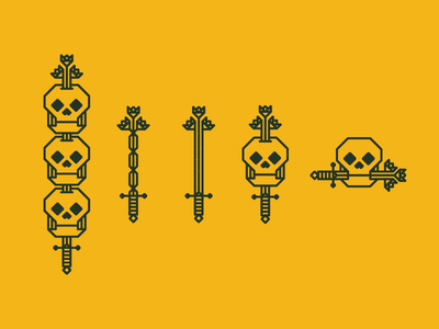 Lineage generations geometric flower lineage sword 45 skull