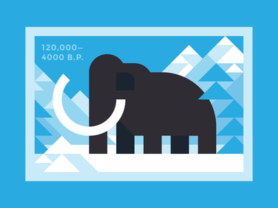 Woolly Mammoth tusk ice age snow stamp geometric mammoth woolly
