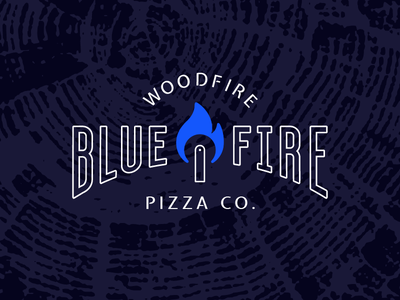 Blue Fire–Direction 2 pizza cutter blue food truck brand identity woodfire fire pizza