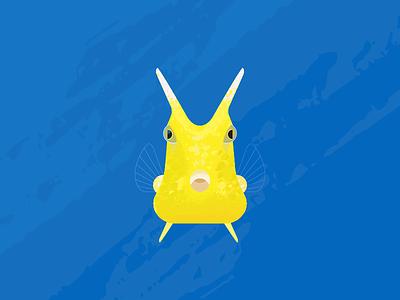 Longhorn Cowfish geometry vector tropical fish cowfish horn long gillusrations