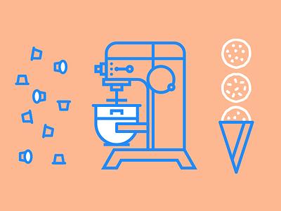Dough Dough cone cups dough cookie hobart mixer branding brand monoline icons