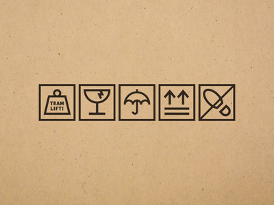 Shipping Container Icons monoline heavy fragile cardboard container shipping icons