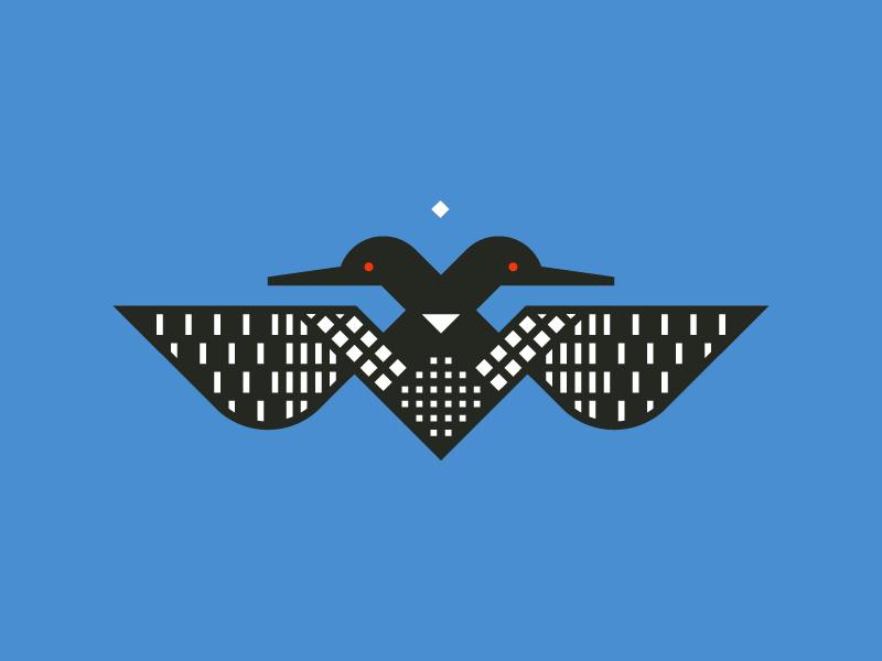 Two–Headed Loon grid minnesota loon illustration vector geometric