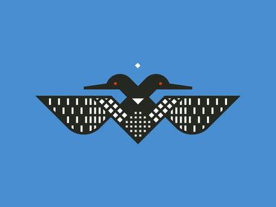 Two–Headed Loon grid minnesota loon illustration vector geometric