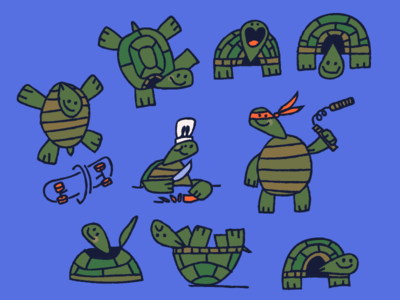 Turtles illustration ninja skateboard chef character texture vectore turtles