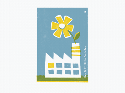 Earth Day Stamp cutout factory flower texture stamp psa positive clean green energy conservation earth day earth