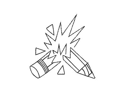 Creativity broken texture pencil monoline explosion firecracker firework creativity concept brush blackcat