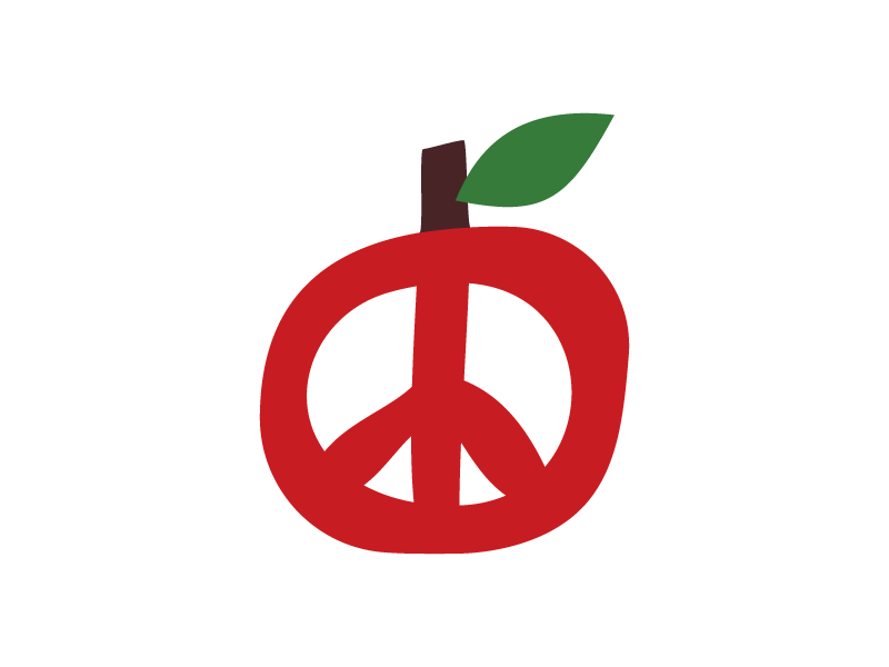 An Apple A Day apple a day concept vector leave peace sign symbol peace apple