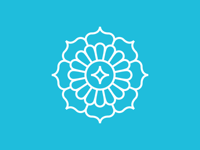 Compass balance geometry cardinal directions monoline mandala flower star water compass