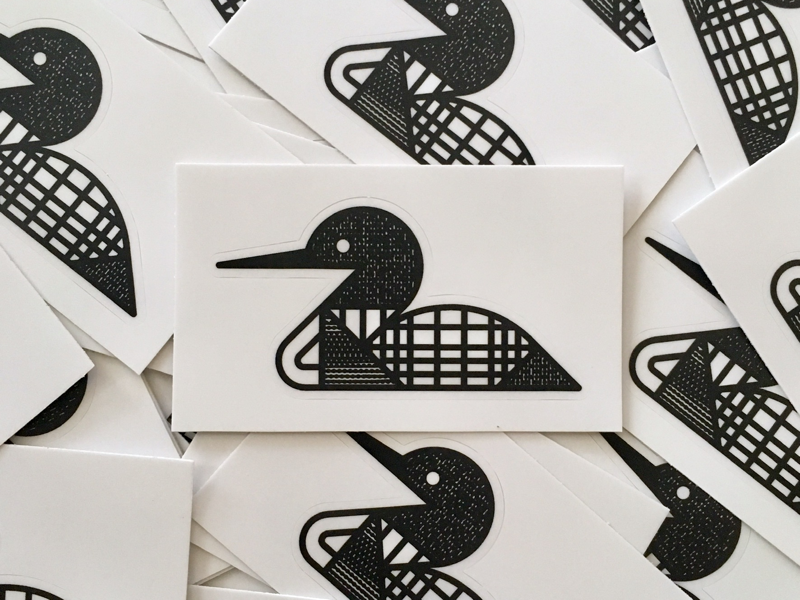 Loon Stickers waterfowl north minnesota pattern texture sticker monoline bird loon