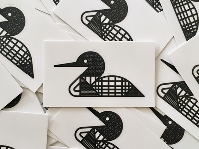 Loon Stickers waterfowl north minnesota pattern texture sticker monoline bird loon