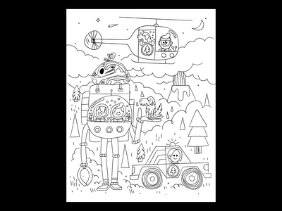 Fam doodle bones dinosaur helicopter truck illustration volcano trees dog robot family