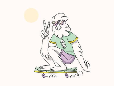 Shredi Skate vector texture brushes chill peace skateboard character skate bigfoot yeti