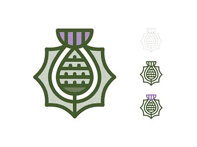 Thistle icon identity mark geometric geometry halftone purple thick monoline