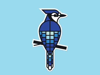 BlueJay—Sticker blueprint sticker geometric illustration geometric pattern bird monoline bluejay jay blue