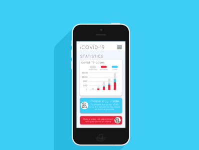 covid app app coronavirus flat design minimal app ui ui ux mobile app design