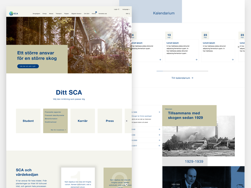 SCA Forest Products minimal visual ux userinterface ui clean industry forestry design system