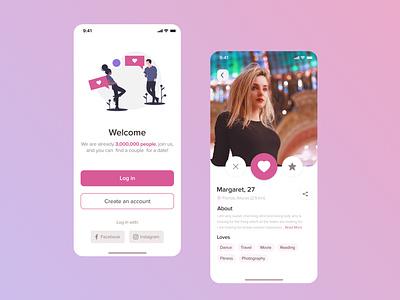 Dating iOS App messenger social app login social networking app mobile ios mobile app mobile design dating app messenger app chating find concept design friend ui design girl