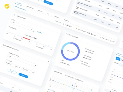 Asset Book white background platform ux ui minimal functional custom application data visualization finance desktop design web app