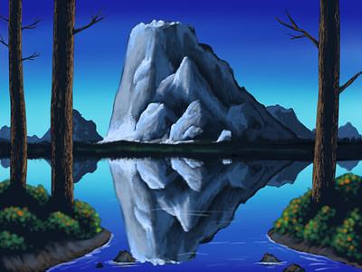 Lake View bob ross ipad pro art digital illustration illustration