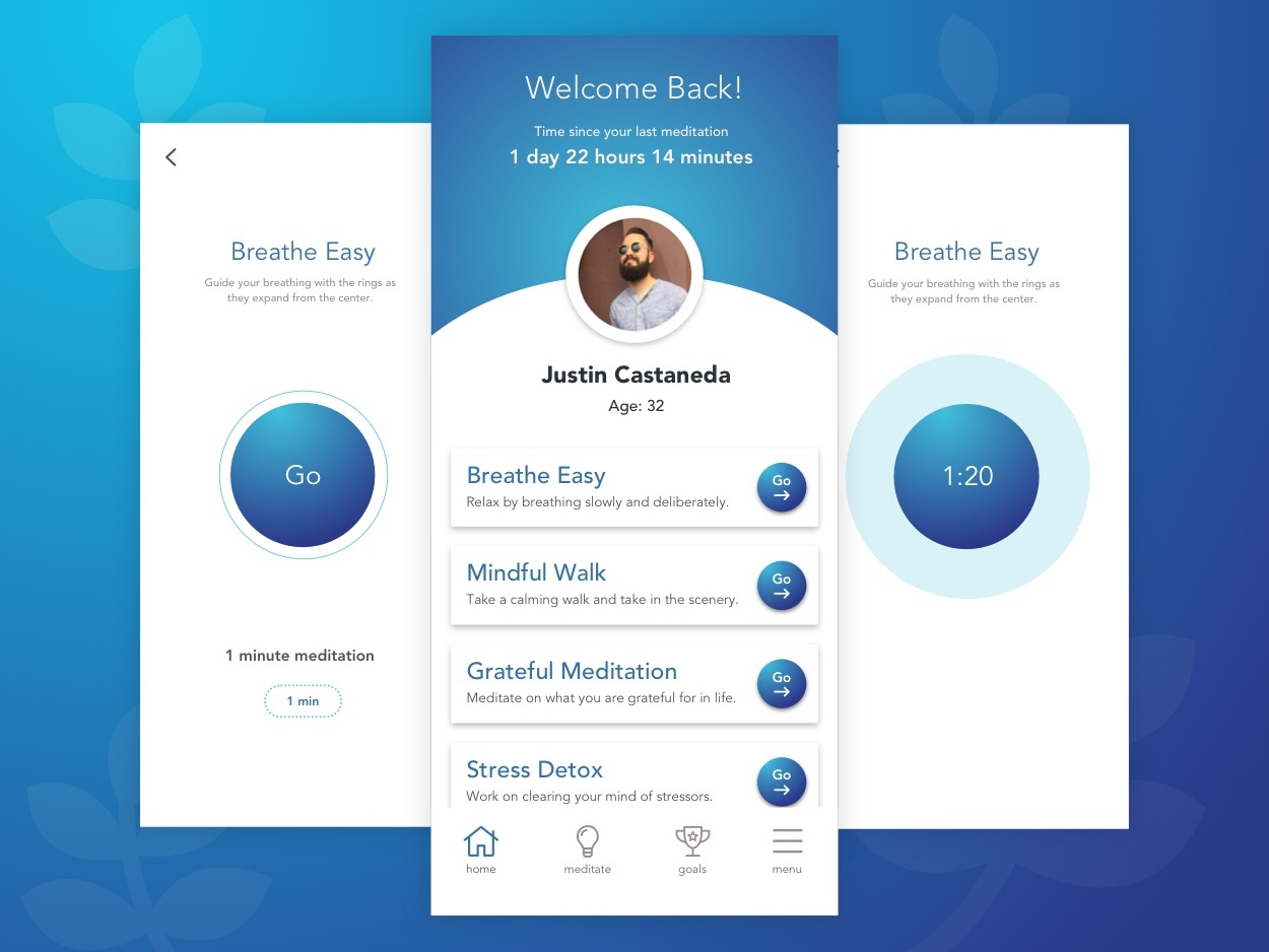 Daily UX #1 - Mindfulness App app design daily 100 challenge user experience sketch ui  ux design daily ux