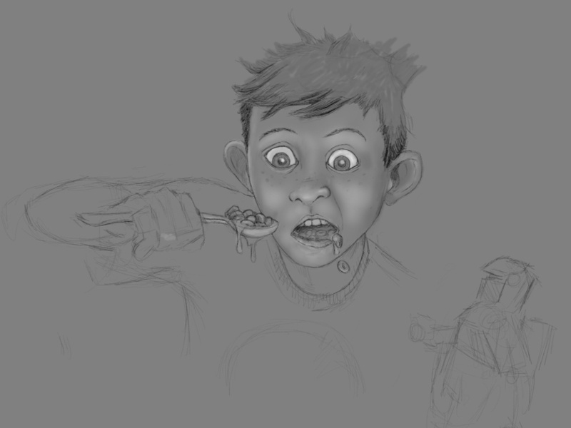 Saturday Morning Suspense - beginning illustration photoshop child sketch