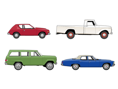 Cars illustration auto car retro