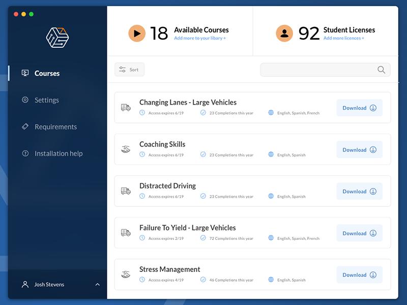 eLearning Installer App interface ux ui