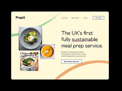 Prep'd landing page illustrator website minimal ux branding ui logo typography typeface design