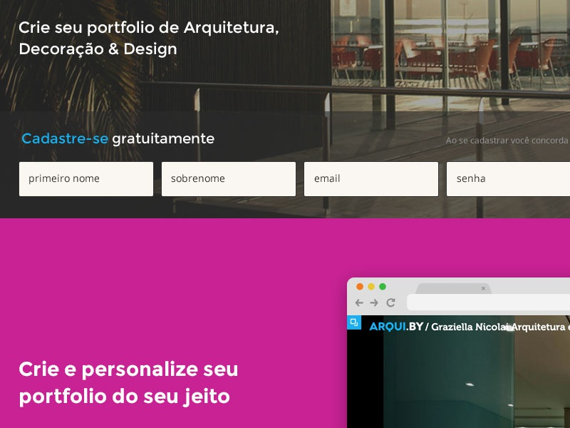 Arquiby 2.0 signup flow architecture portfolio